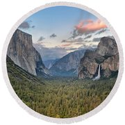 Clouds Over A Valley, Yosemite Valley Round Beach Towel by Panoramic Images