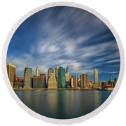 Clouds Over New York Round Beach Towel by Rick Berk
