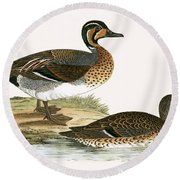 Clucking Teal Round Beach Towel by English School