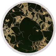 Cobwebs And Insects Round Beach Towel by Japanese School