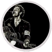 Coldplay Collection Chris Martin Round Beach Towel by Marvin Blaine