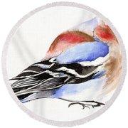 Colorful Chaffinch Round Beach Towel by Nancy Moniz