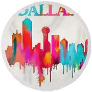 Colorful Dallas Skyline Silhouette Round Beach Towel by Dan Sproul