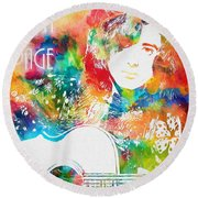 Colorful Jimmy Page Round Beach Towel by Dan Sproul