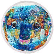 Colorful Koala Bear Art By Sharon Cummings Round Beach Towel by Sharon Cummings