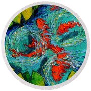Colorful Koi Fishes In Lily Pond Round Beach Towel by Mona Edulesco