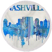 Colorful Nashville Skyline Silhouette Round Beach Towel by Dan Sproul