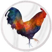Colorful Rooster Round Beach Towel by Hailey E Herrera