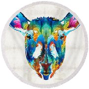 Colorful Sheep Art - Shear Color - By Sharon Cummings Round Beach Towel by Sharon Cummings