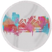 Colorful Sydney Skyline Silhouette Round Beach Towel by Dan Sproul