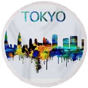 Colorful Tokyo Skyline Silhouette Round Beach Towel by Dan Sproul