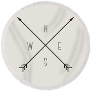 Compass Round Beach Towel by Taylan Soyturk