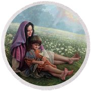 Consider The Lilies Round Beach Towel by Greg Olsen