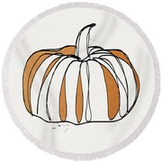 Contemporary Pumpkin- Art By Linda Woods Round Beach Towel by Linda Woods