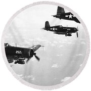 Corsair Planes  Us Airforce Round Beach Towel by American School