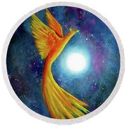 Cosmic Phoenix Rising Round Beach Towel by Laura Iverson