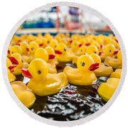 County Fair Rubber Duckies Round Beach Towel by Todd Klassy