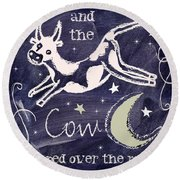 Cow Jumped Over The Moon Chalkboard Art Round Beach Towel by Mindy Sommers