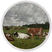 Cows At The Pasture Round Beach Towel by Eugene Louis Boudin
