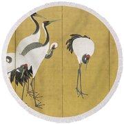 Cranes Round Beach Towel by Maruyama Okyo