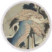 Cranes On Pine Round Beach Towel by Hokusai