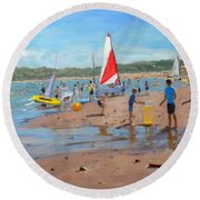 Cricket And Red And White Sail Round Beach Towel by Andrew Macara