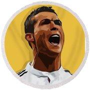 Cristiano Ronaldo Cr7 Round Beach Towel by Semih Yurdabak