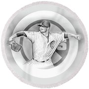 Cubs 2016 Round Beach Towel by Greg Joens