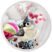 Cute Winter Bird - Tufted Titmouse Round Beach Towel by Christina Rollo