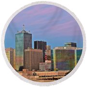 Dallas At Dusk Round Beach Towel by Frozen in Time Fine Art Photography