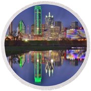 Dallas Blue Hour Round Beach Towel by Frozen in Time Fine Art Photography