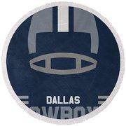 Dallas Cowboys Vintage Art Round Beach Towel by Joe Hamilton