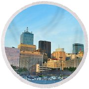 Dallas Skyline Pano Round Beach Towel by Frozen in Time Fine Art Photography