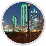 Dallas Street And Lights Round Beach Towel by Frozen in Time Fine Art Photography