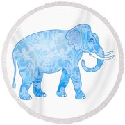 Damask Pattern Elephant Round Beach Towel by Antique Images