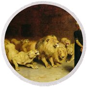 Daniel In The Lions Den Round Beach Towel by Briton Riviere