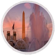 Dc Sunset Round Beach Towel by Betsy Knapp