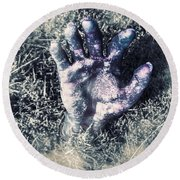 Decaying Zombie Hand Emerging From Ground Round Beach Towel by Jorgo Photography - Wall Art Gallery