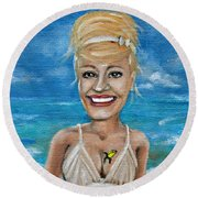 Dee With Her Bloody Mary Round Beach Towel by Leandria Goodman