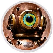 Deep Diver Cyclops Helmet In Hdr And Vintage Process Round Beach Towel by Pedro Cardona