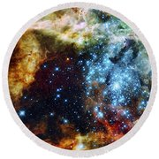 Deep Space Fire And Ice 2 Round Beach Towel by Jennifer Rondinelli Reilly - Fine Art Photography