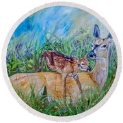 Deer Mom And Babe 24x18x1 Oil On Gallery Canvas Round Beach Towel by Manuel Lopez