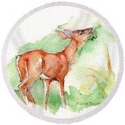 Deer Painting In Watercolor Round Beach Towel by Maria's Watercolor