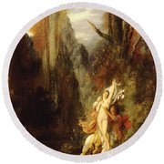 Dejanira  Autumn Round Beach Towel by Gustave Moreau
