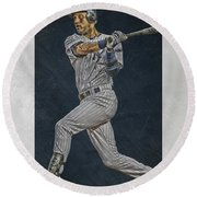 Derek Jeter New York Yankees Art 2 Round Beach Towel by Joe Hamilton