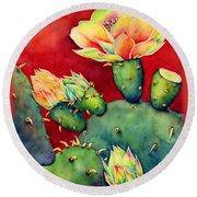 Desert Bloom Round Beach Towel by Hailey E Herrera