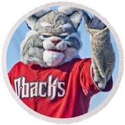 Diamondbacks Mascot Baxter Round Beach Towel by Jon Berghoff