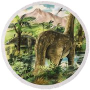Dinosaurs Round Beach Towel by English School