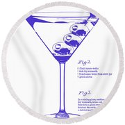 Dirty Martini Blueprint Round Beach Towel by Jon Neidert