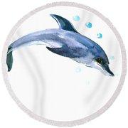 Dolphin Round Beach Towel by Suren Nersisyan